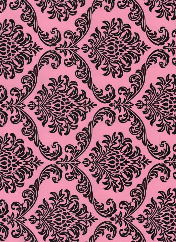 2 pink amp black damask � paper packaging place